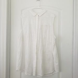 3/$25 Woman Within sleeveless wht eyelet top sz 30